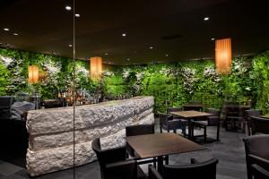 LL dehor è caratterizzato da una parete verde verticale e dal banco bar realizzato in conci sovrapposti di Biancone di Asiago.