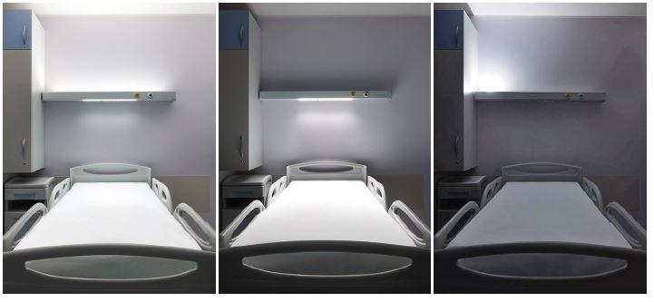 Tre soluzioni in una. In ordine: luce indiretta/ambiente da 47W (840°K), luce di lettura da 12W (840°K) e luce notturna da 1,2 W (830°K).