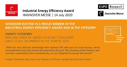 Schneider Electric vince l'Industrial Energy Efficiency Award